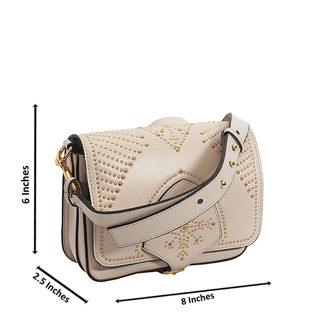 Beige Studded Tuscany Leather Crossbody Handbag