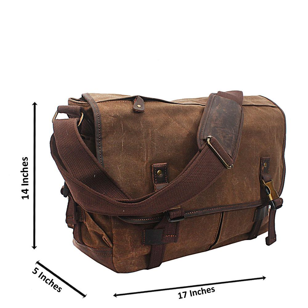 Brown Flip Water Proof Khaki Messenger Bag