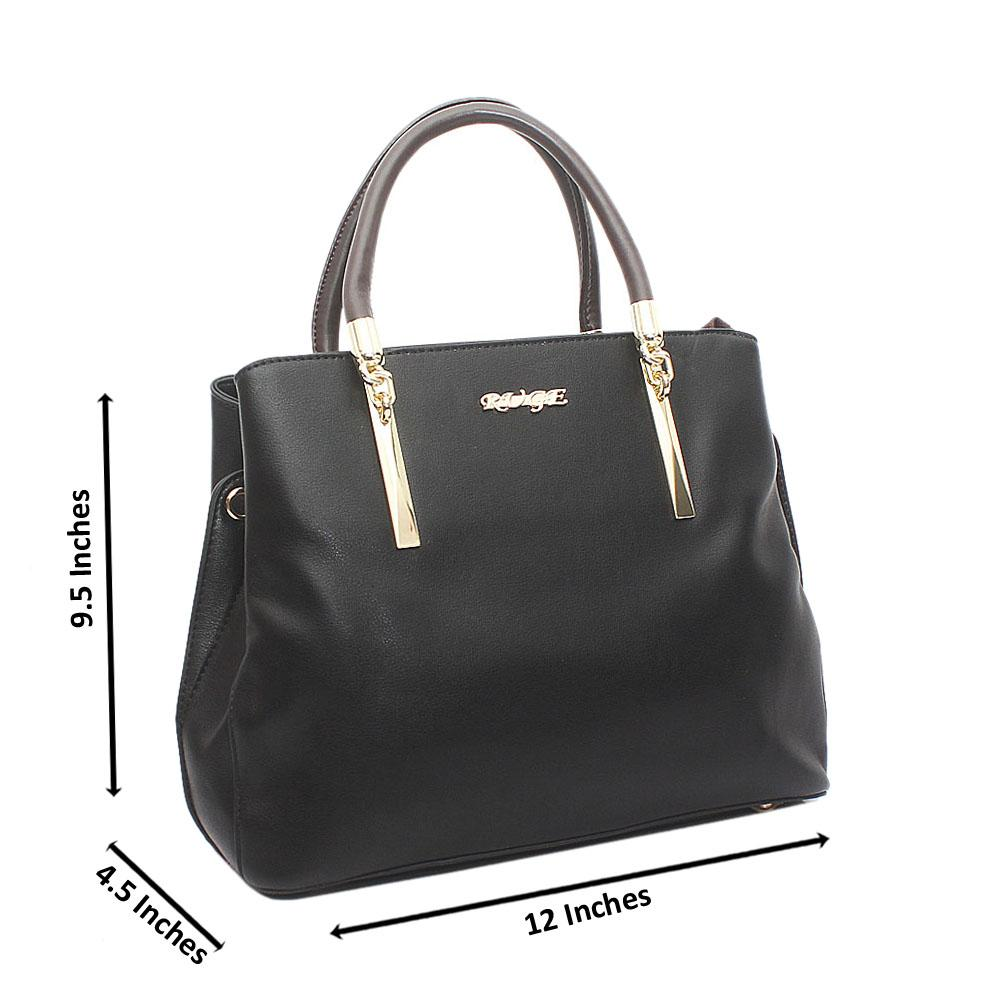 Black Ruge Medium Leather Handbag