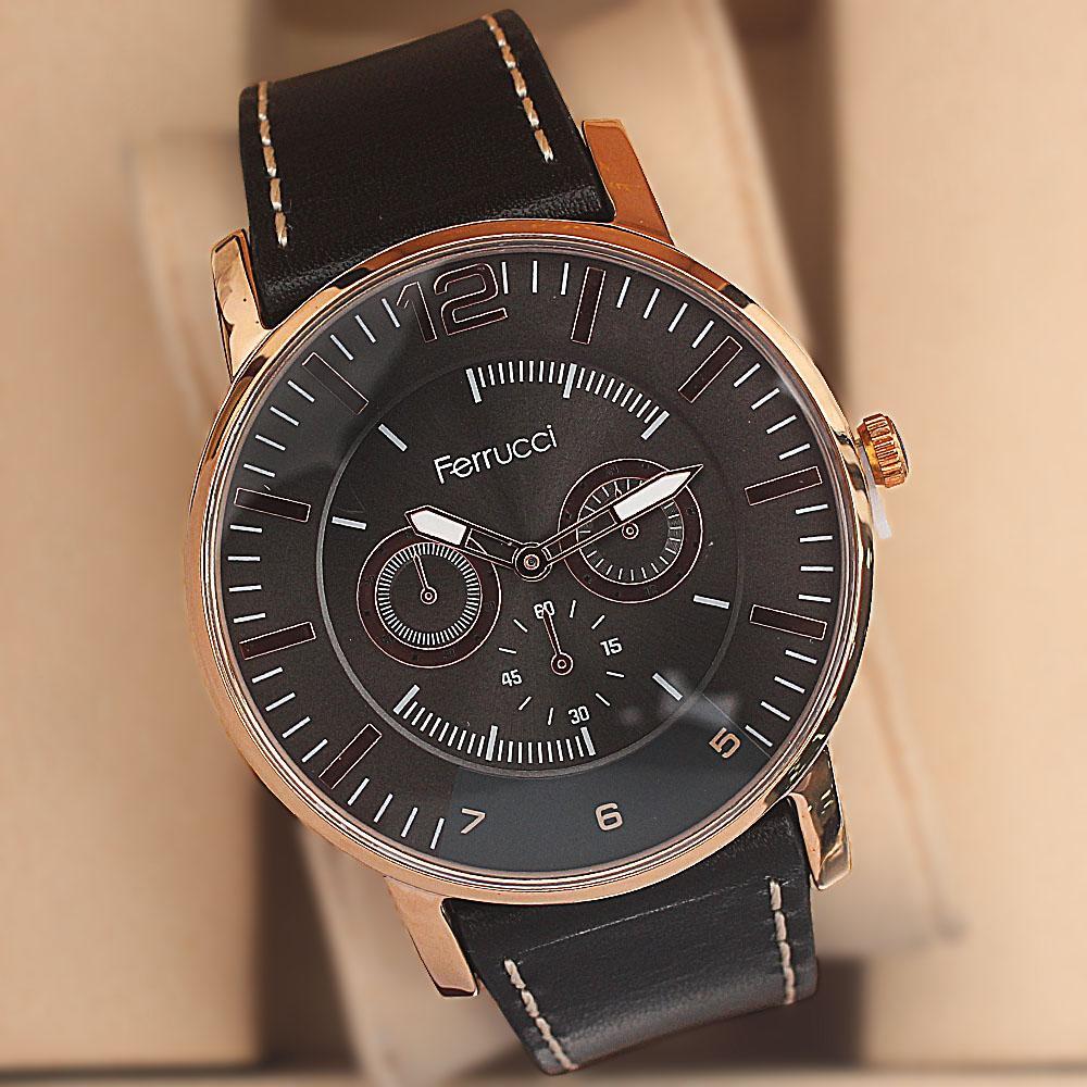 Ferrucci Platini Gold Steel Black -White Lace Leather Fashion Watch
