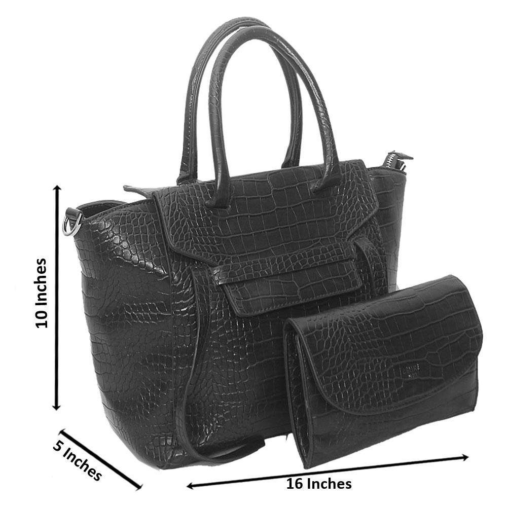 Black Rossie Croc Leather Tote Handbag