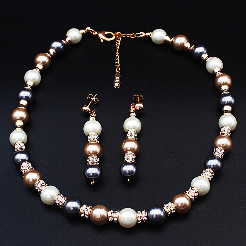 Diane Ross White Gray Pearl Ice Necklace and Earrings Set