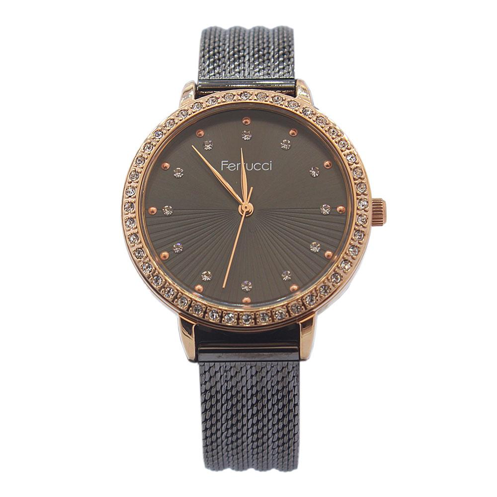 Ferrucci Studdded Black Stainless Mesh Ladies Watch