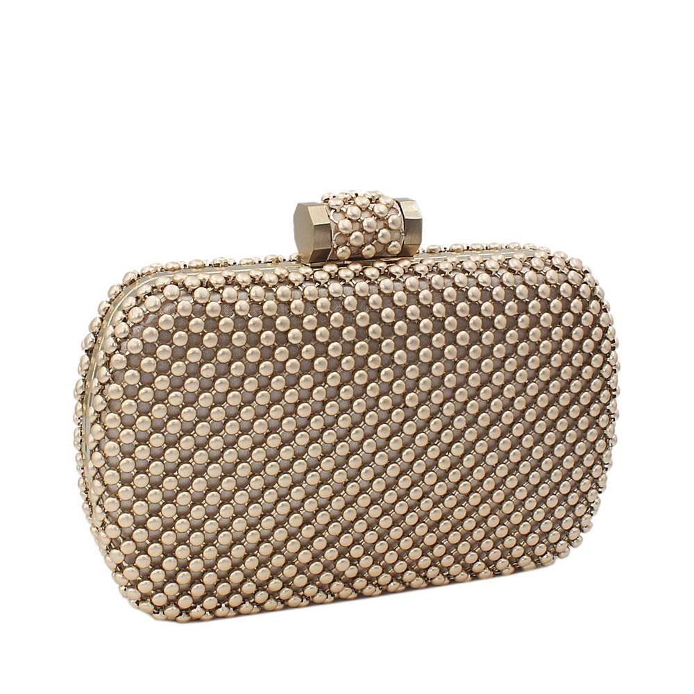 Gold Titanium Mesh-Balls Clutch Purse