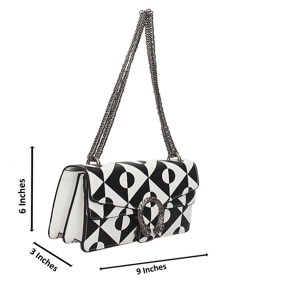 Monochrome Tuscany Leather Chain Crossbody Handbag