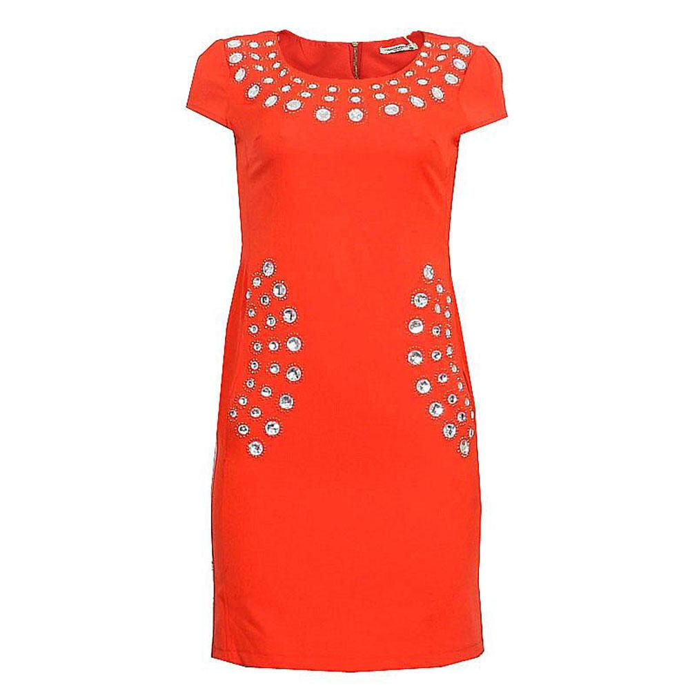 Club Frendy Red Studs Cotton Ladies Dress-36