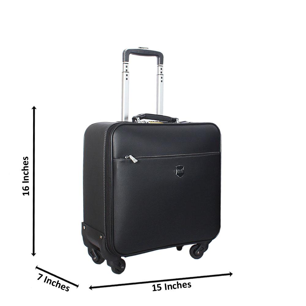 Black 16 Inch Leather Carry On Luggage Wt Lock