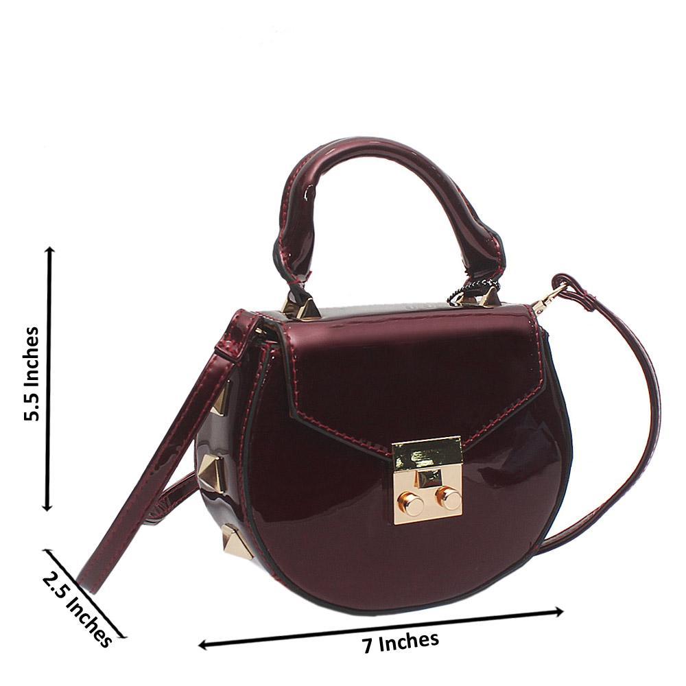 Wine Patent Leather Mini Pamela Handbag