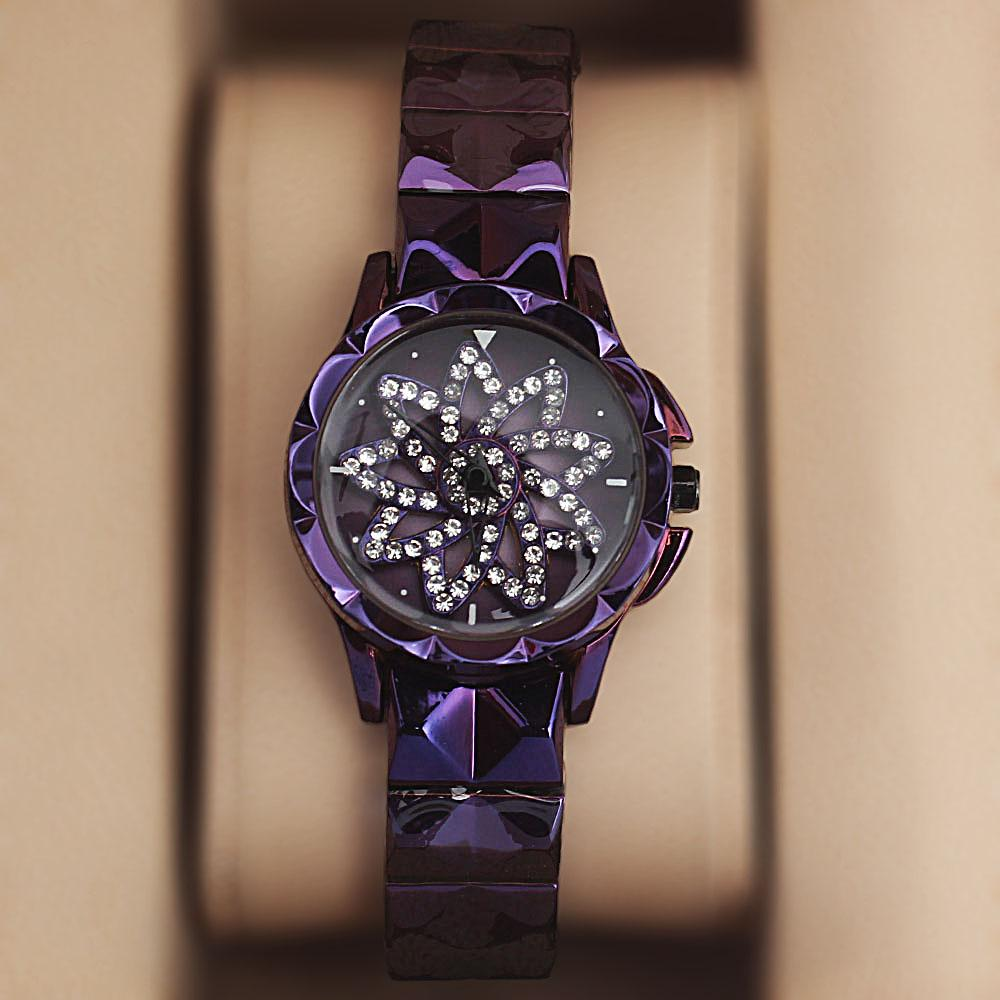 Purple Steel Crystal Studded Spinners Ladies Watch