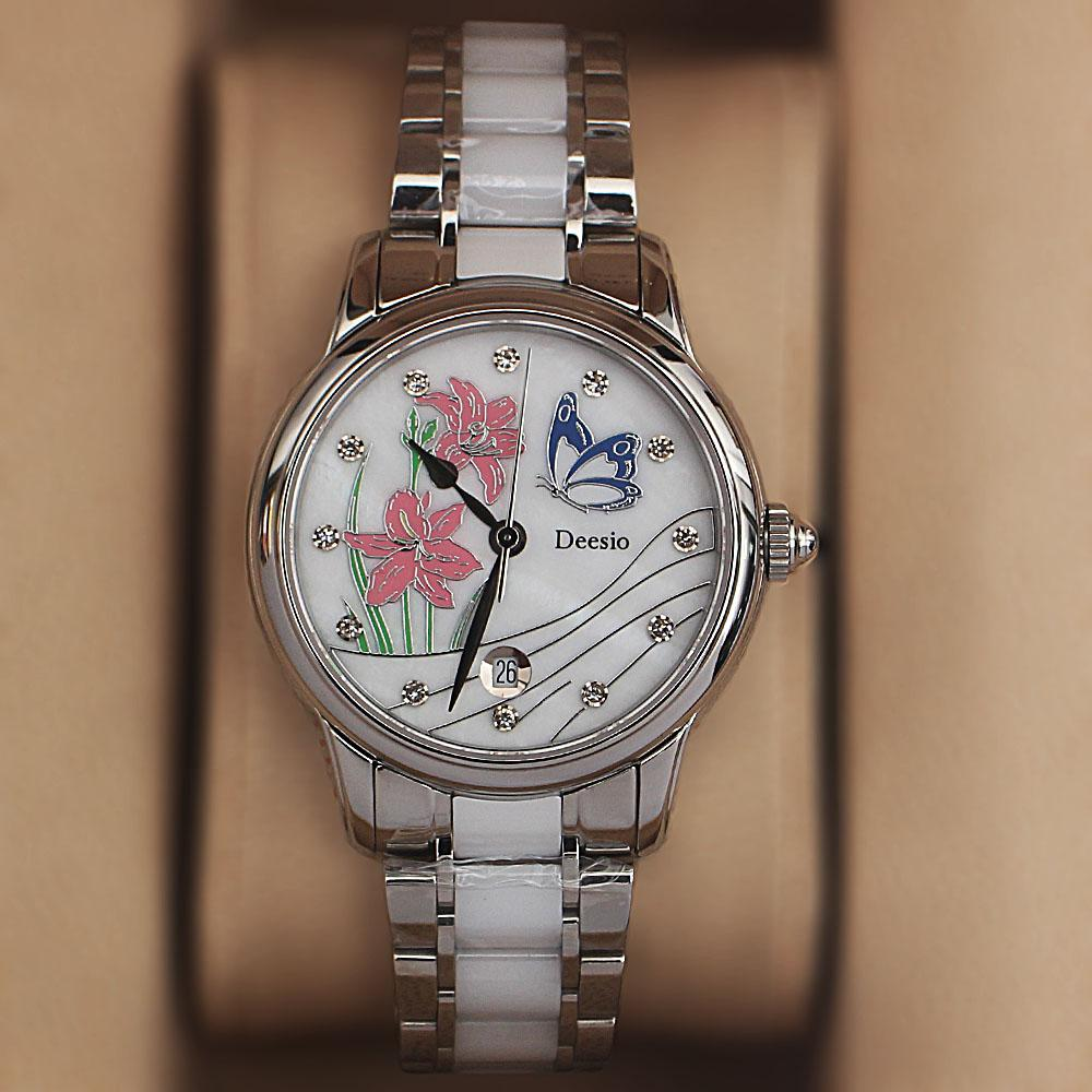 Deesio Silver White Ceramic Ladies Watch