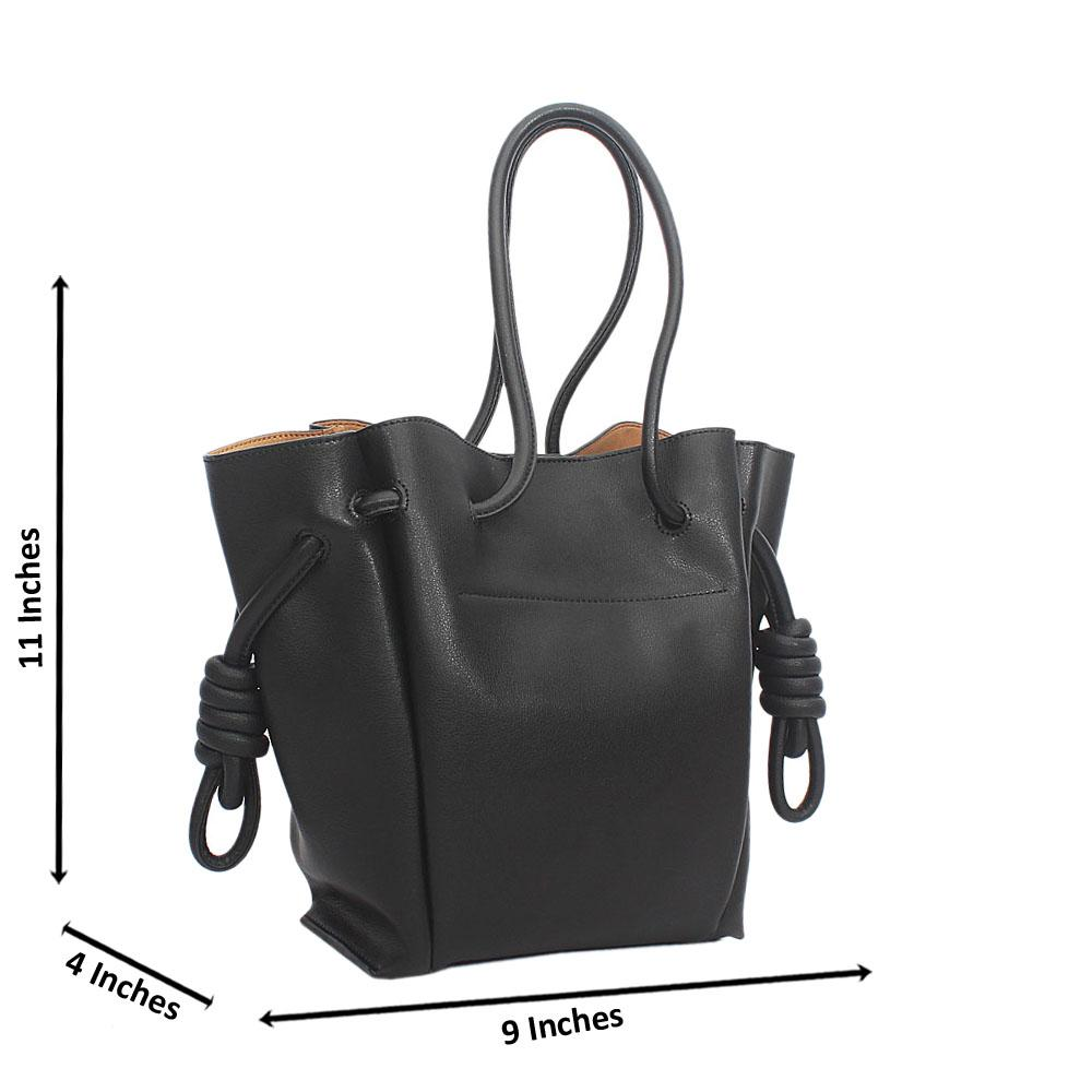 Black Cowhide Leather Drawstring Shoulder Handbag