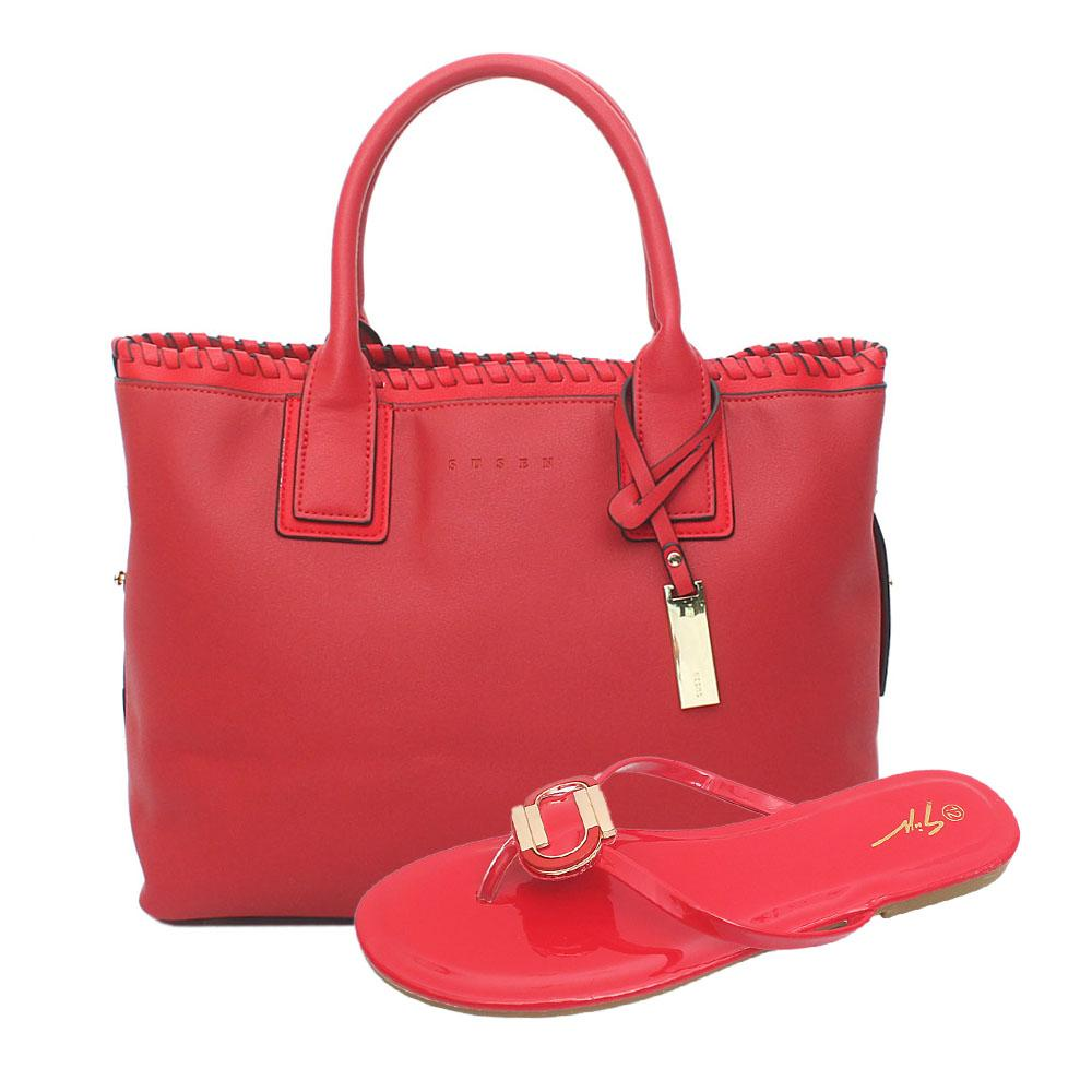 Susen Red Leather Tote Bag