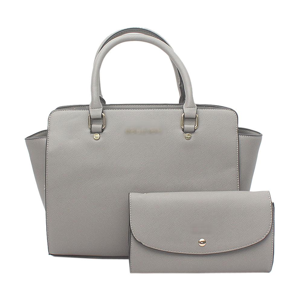 Gray Leather  Tote Bag Wt Purse