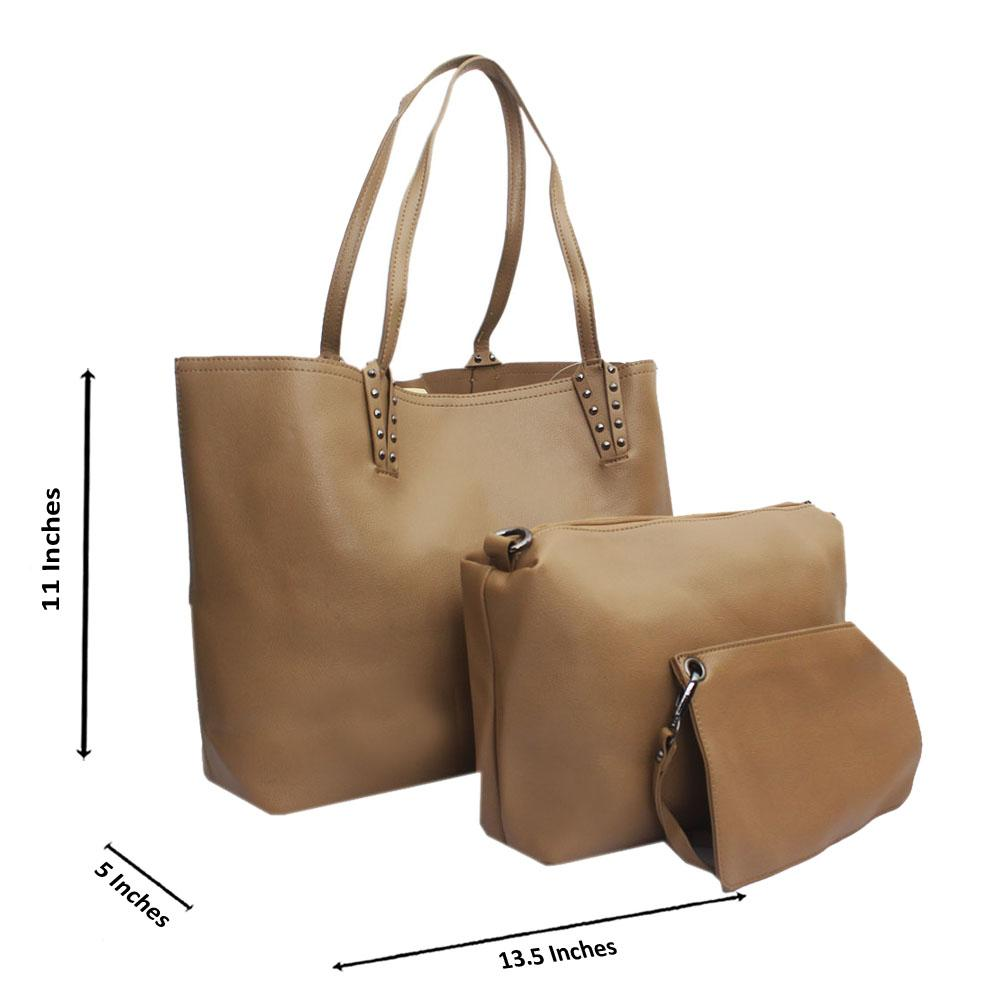 Khaki Leather Medium 3 in 1 Handbag