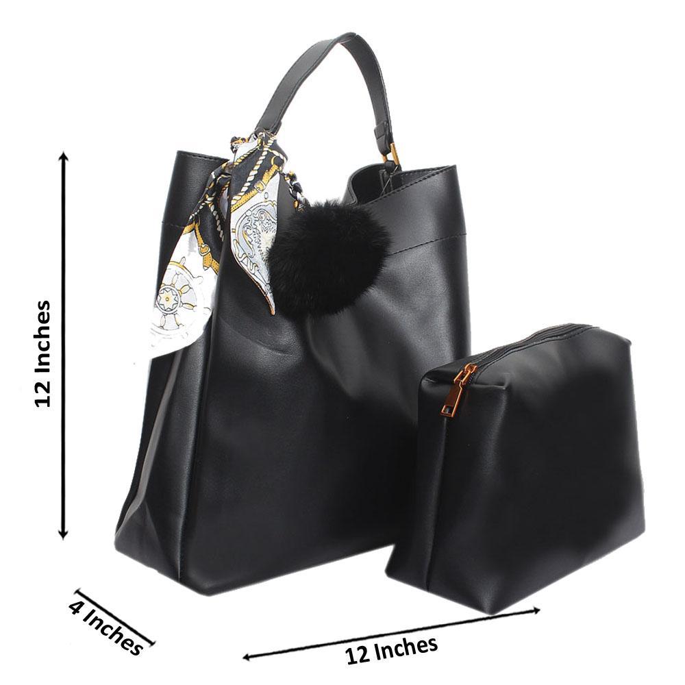 Black Leather Medium Radiant Handbag