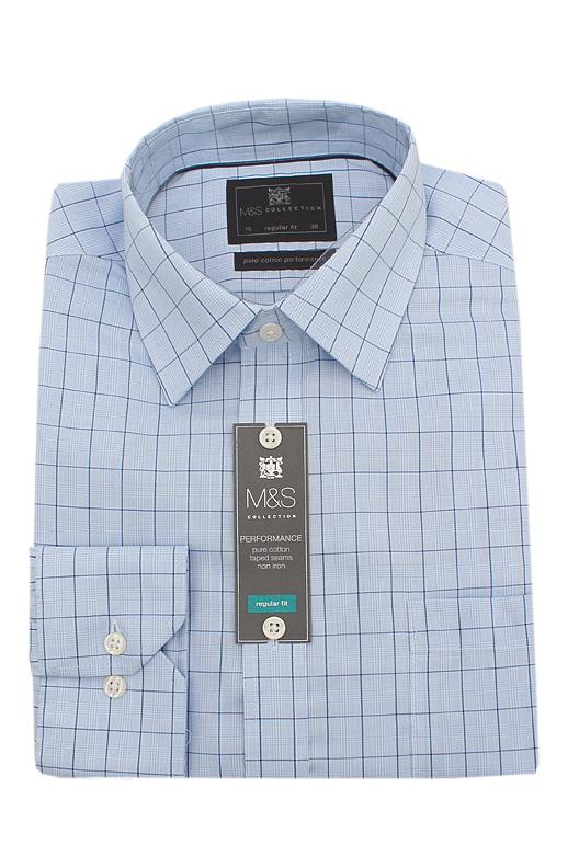 M&S Collection Blue Check Pure Cotton Regular Fit L/Sleeve Men Shirt