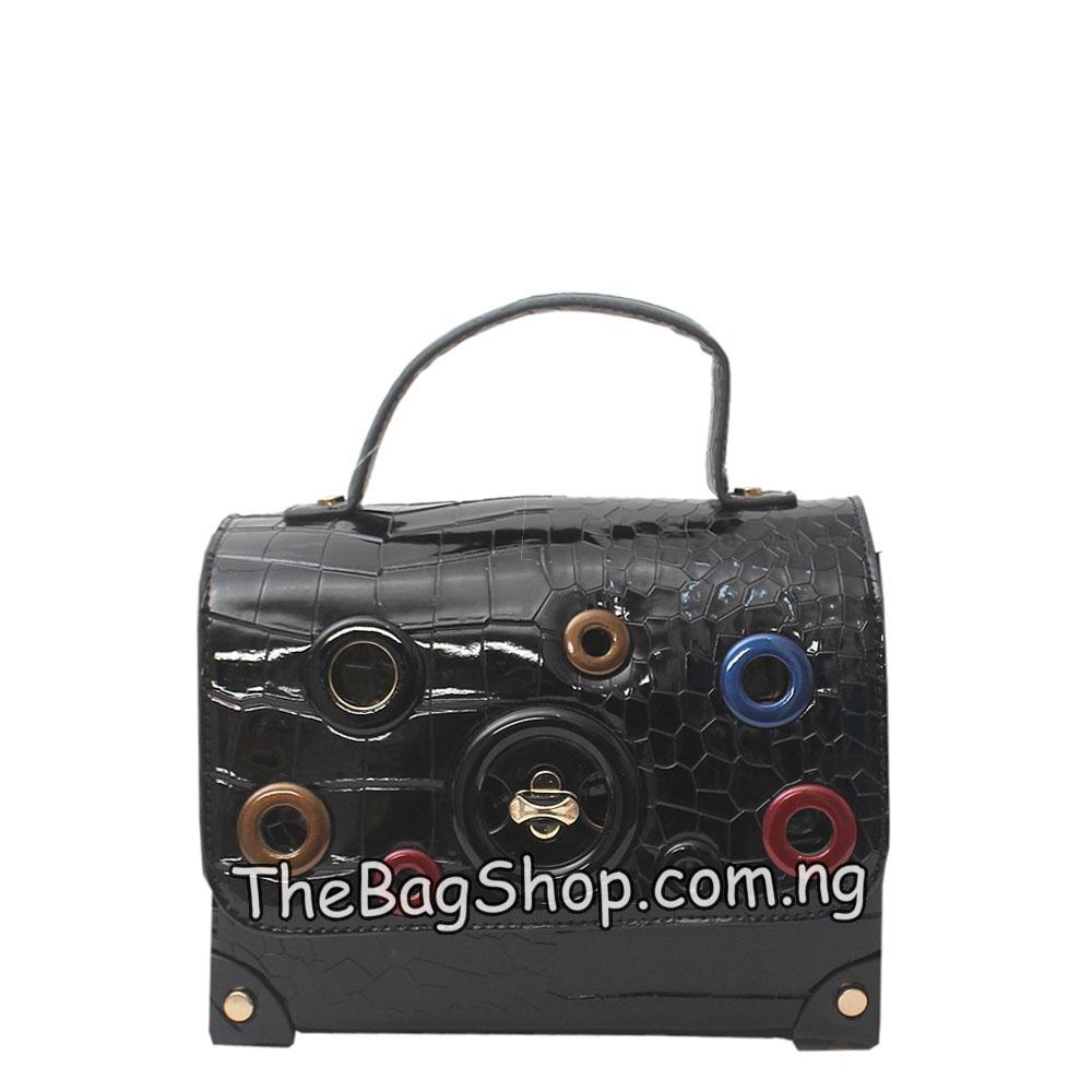 London Style Black Croc Patent Leather Boxy Bag