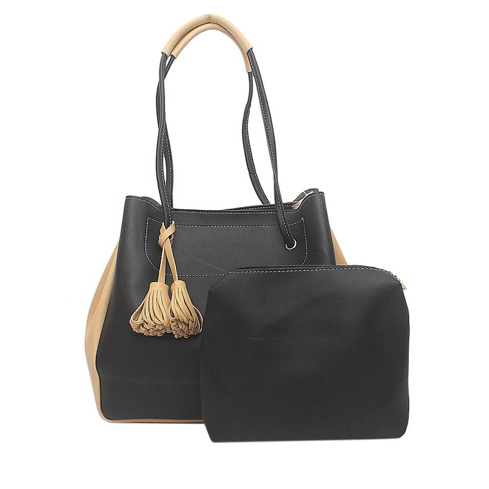 Cavalier Black Cream Leather Shoulder Bag