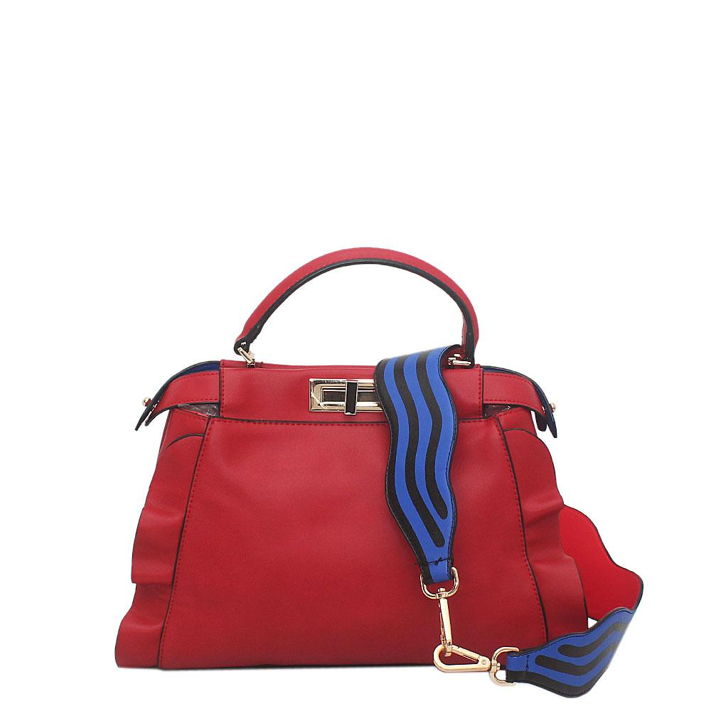 Red Leather Peekaboo Bag Wt Guitar Strap