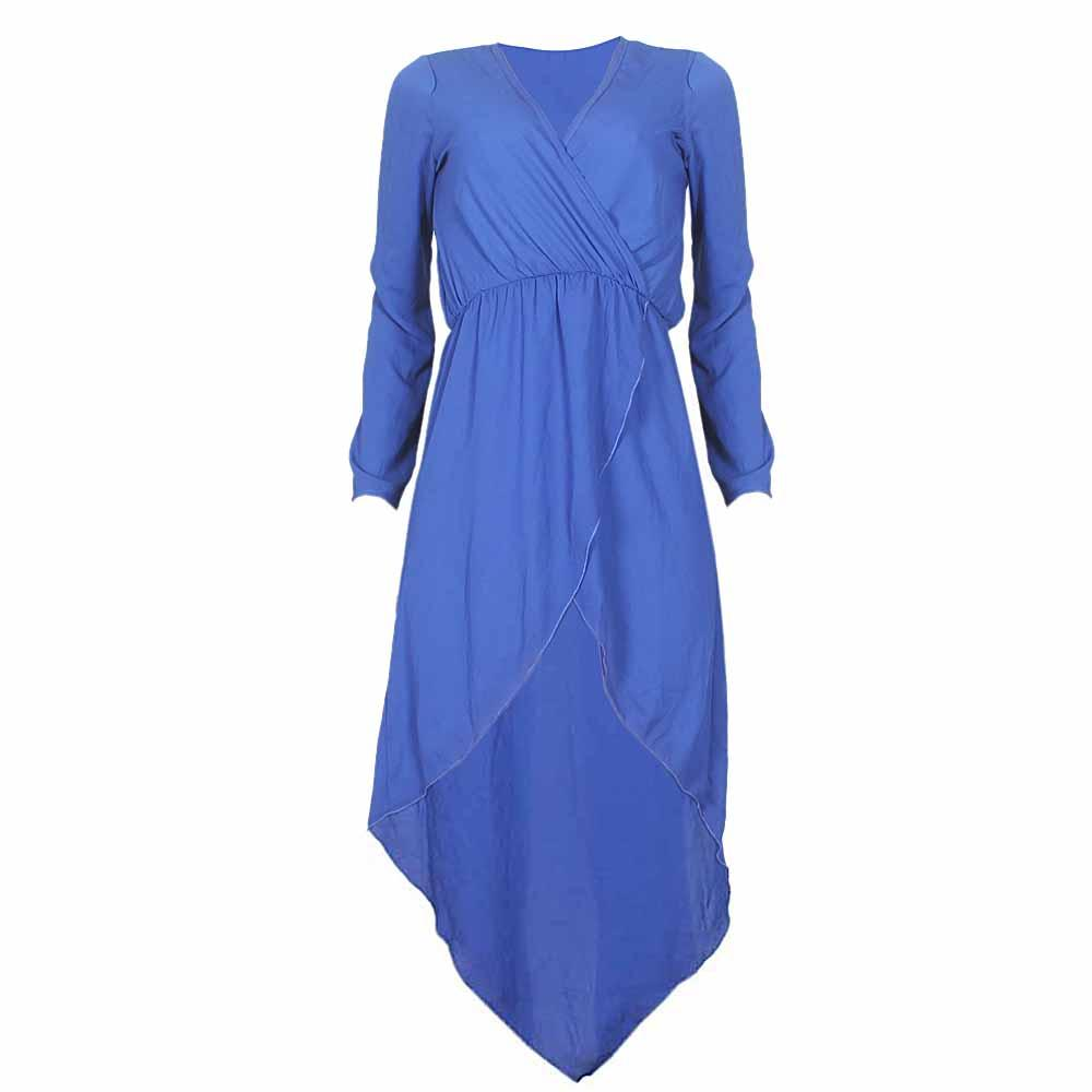 Topia Blue LongSleeve Chiffon Ladies Dress-Uk 10