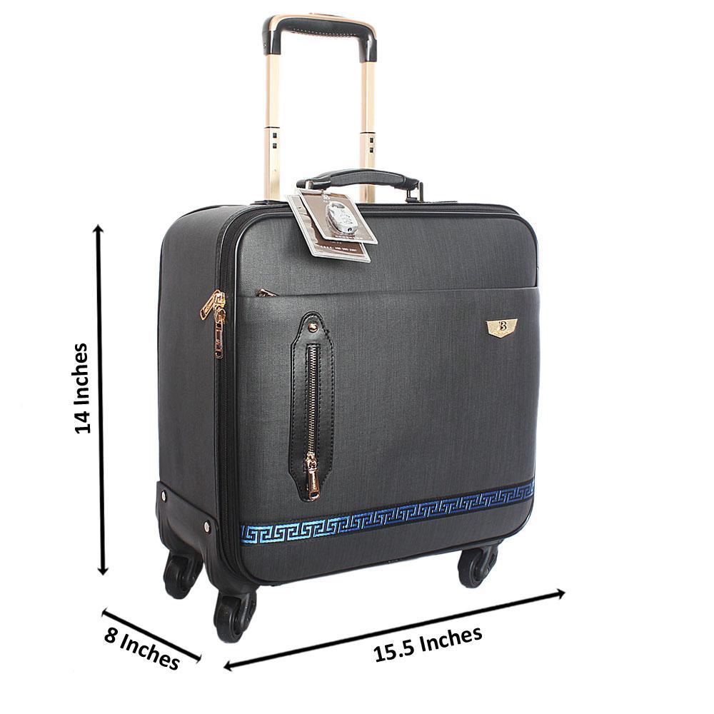 Black Cowboy Leather 14 Inch Pilot Suitcase Wt Padlock