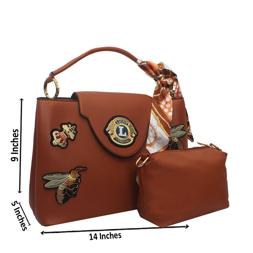 Brown Lion Leather Single Handle Bag