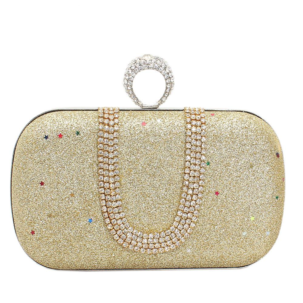 Gold Studded Shimmering Hard Clutch Purse