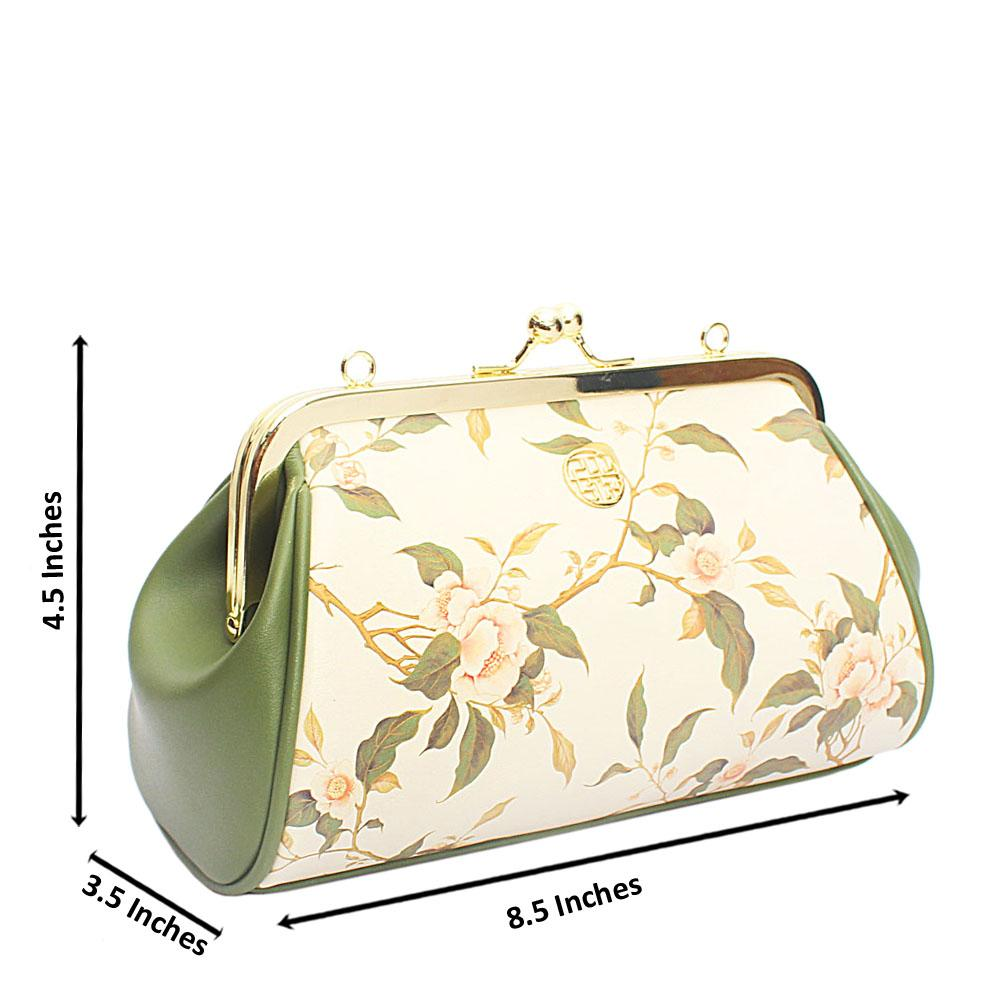 Elianne Cream Green Floral Soft Cow-Leather Clutch Purse