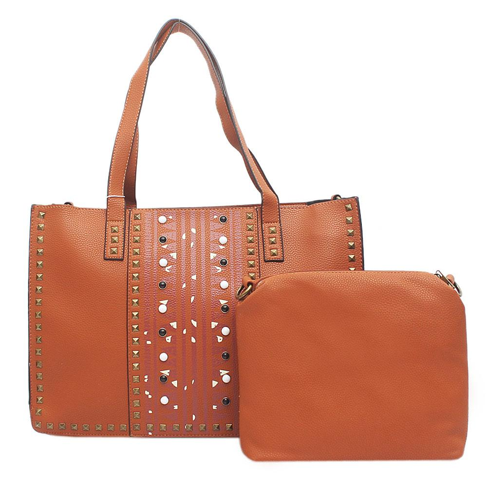 London Style Brown Leather Studded Handbag Wt Purse