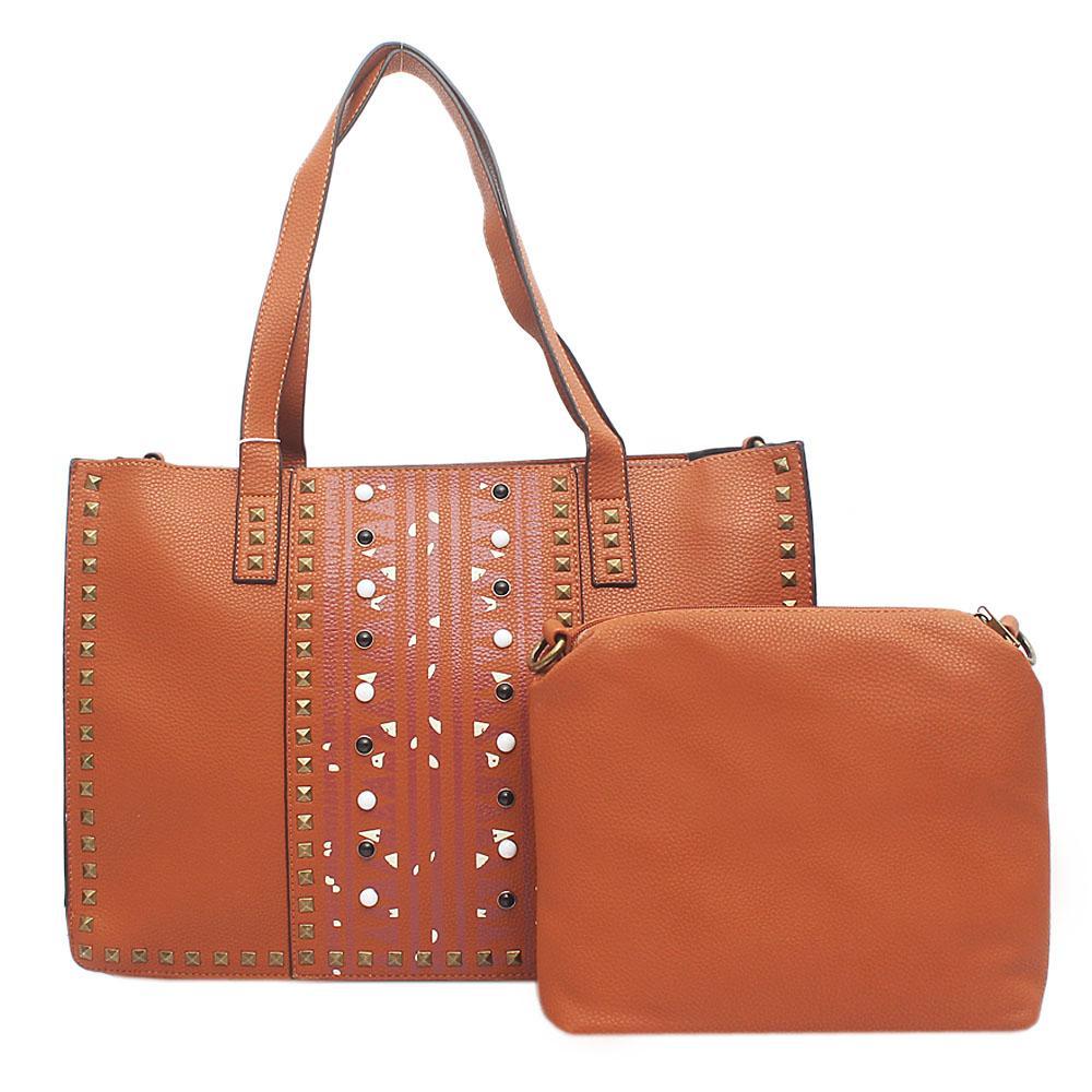 London Style Evogue Brown Leather Studded Handbag Wt Purse