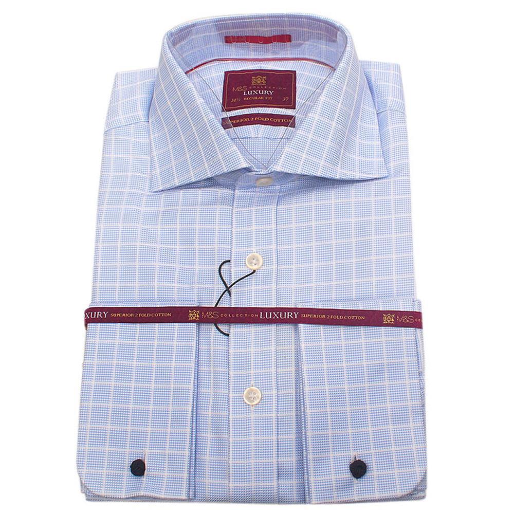 M&S Blue White Check L/Sleeve Regular Fit Men Shirt Wt Cuffs -Sz 15