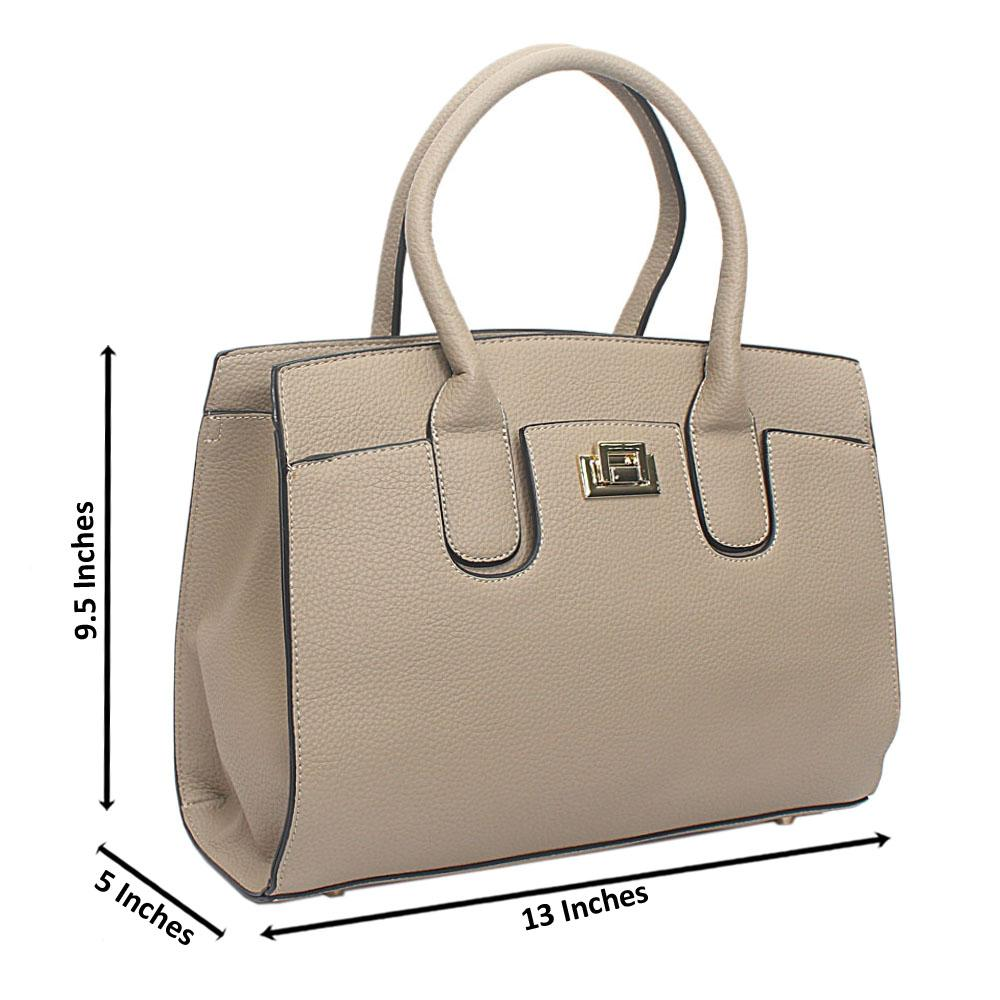 Light Khaki Leather Medium Blossom Handbag