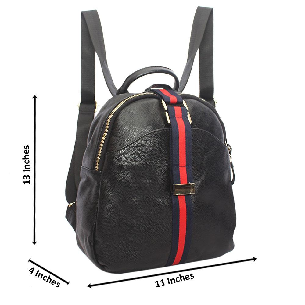Black Iconic Leather Fabric Ladies Backpack