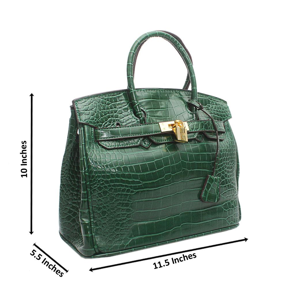 Green Croc Leather Matte Birkin Handbag