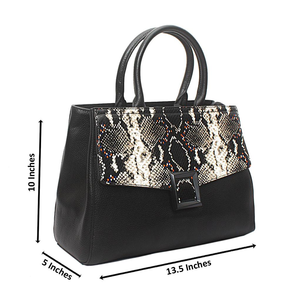 Black Saffiano Leather GJG Flap Handbag