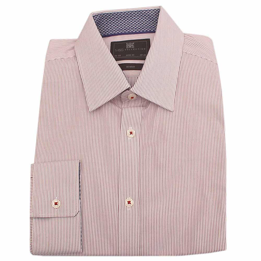 M & S White Wine Striped L/Sleeve Slim Fit Men Shirt
