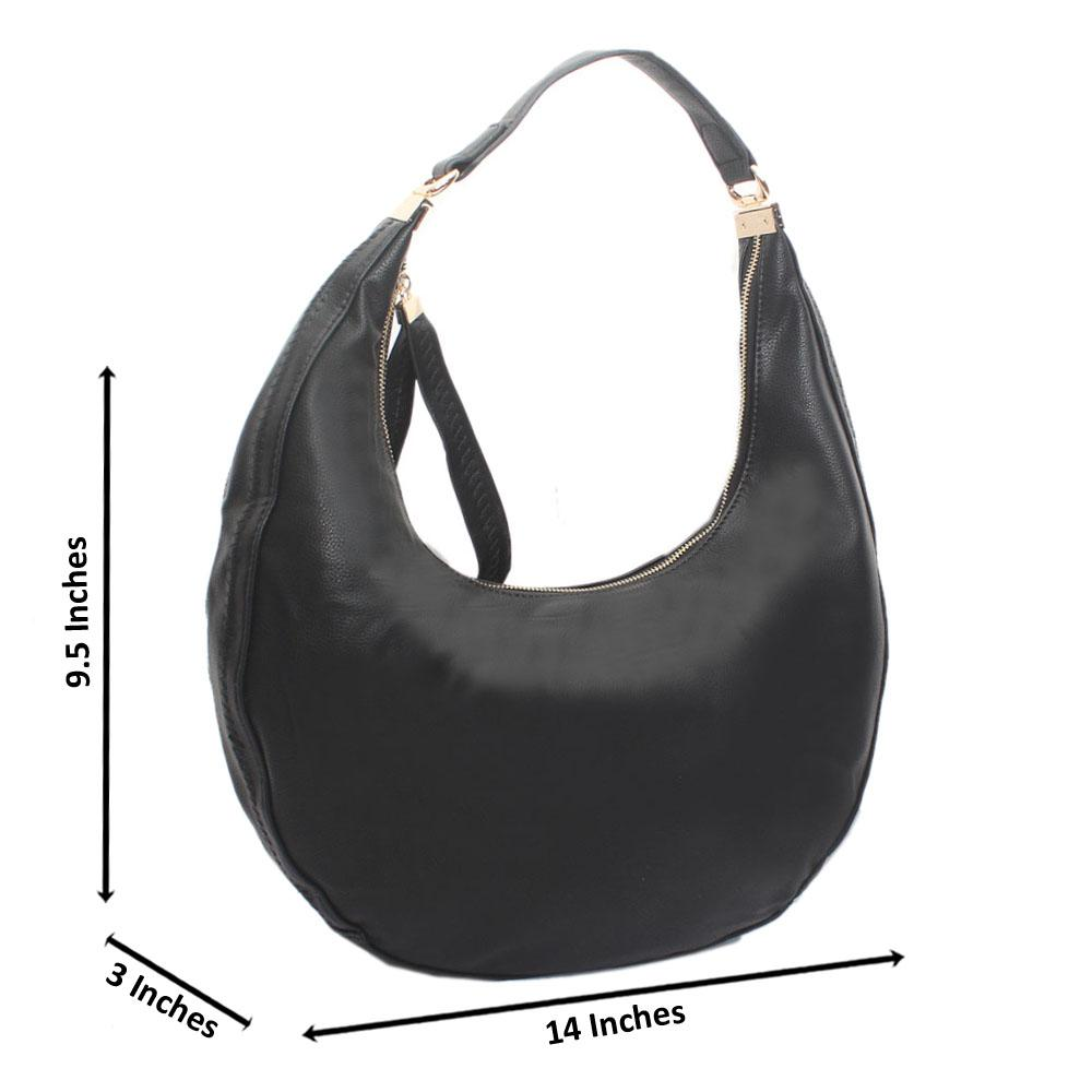 Black Leather Half Moon Handbag