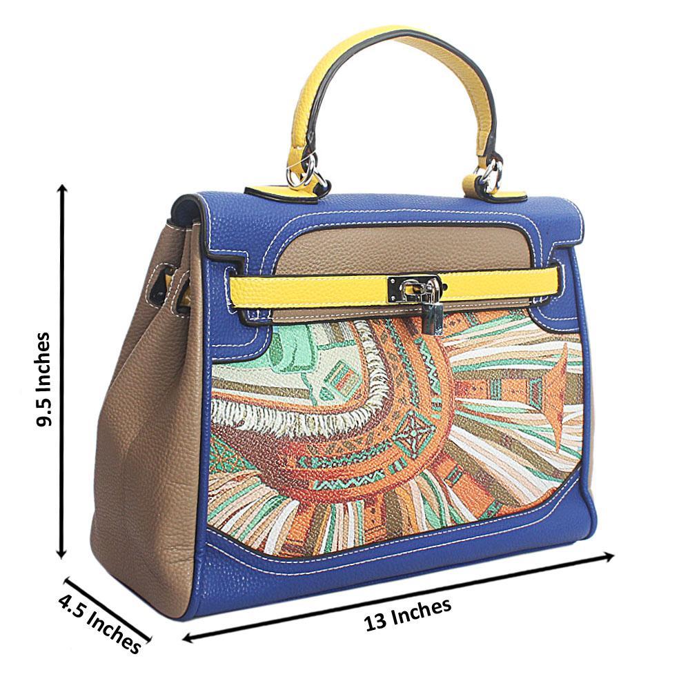 Khaki Multicolor Leather Medium Handle Bag
