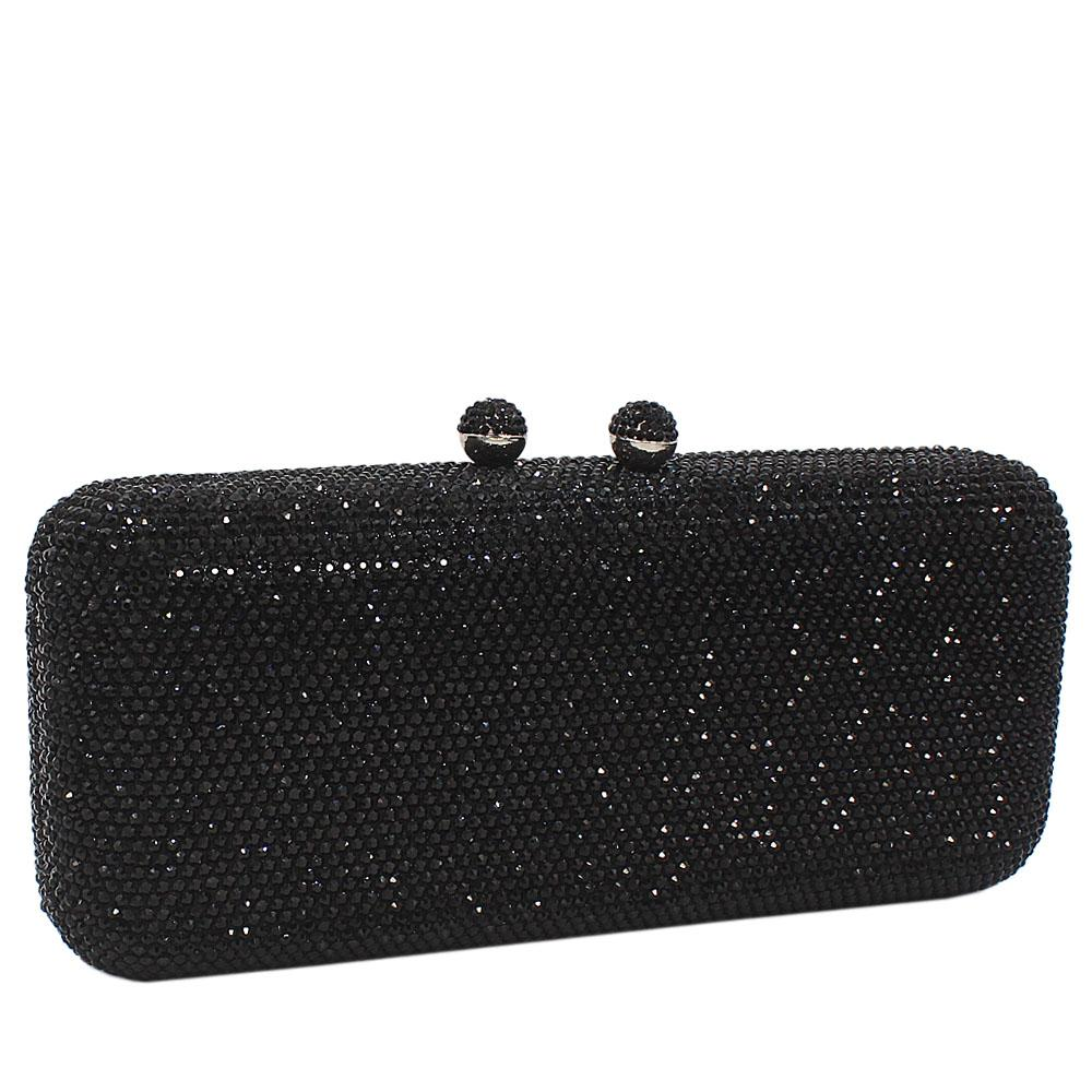 Black Crystals Studded Clutch Purse