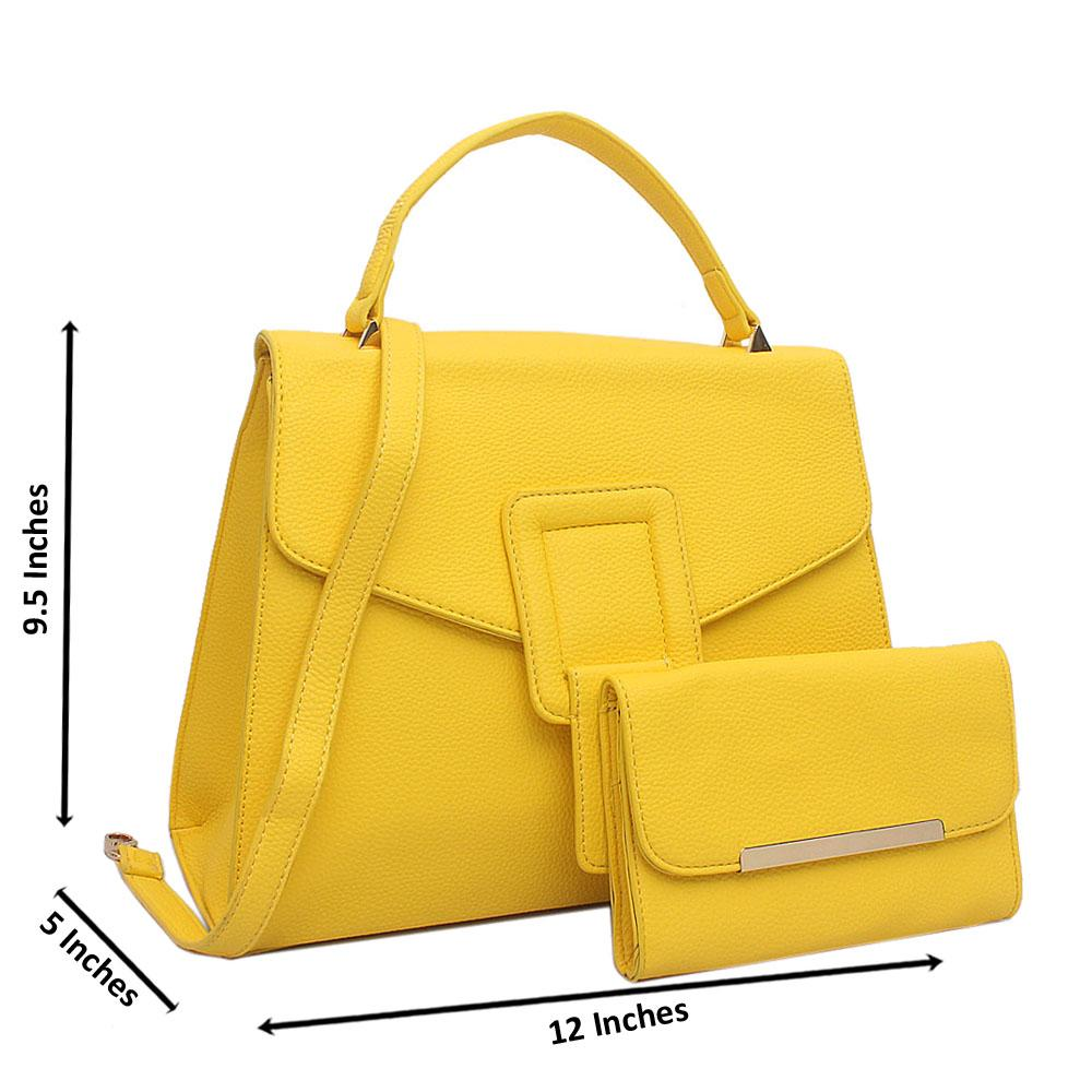 Yellow Blossom Medium Leather Handbag