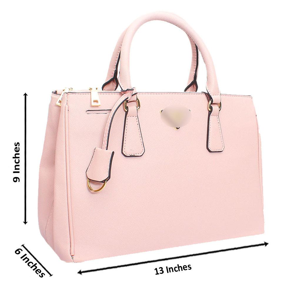 Pink Leather Medium Galleria Handbag