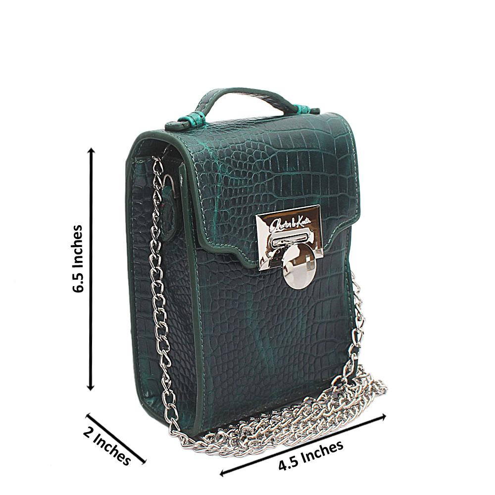 Green Croc Leather Mini Bag