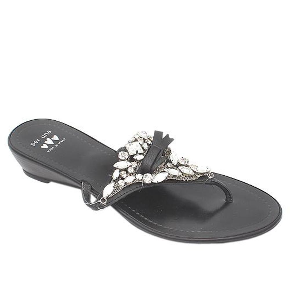 Per Una Black Studded Leather Ladies Slippers-Sz 38