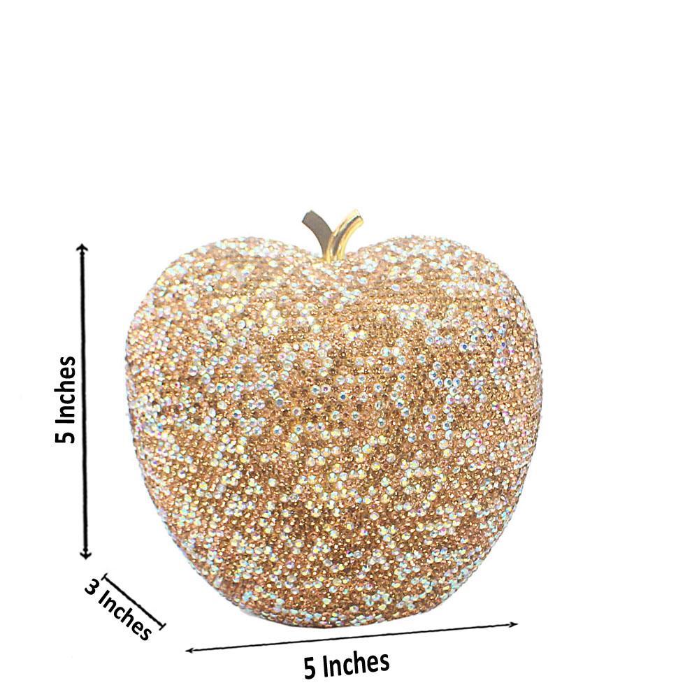 Gold Mix Diamante Crystal Apple Hard Clutch Purse