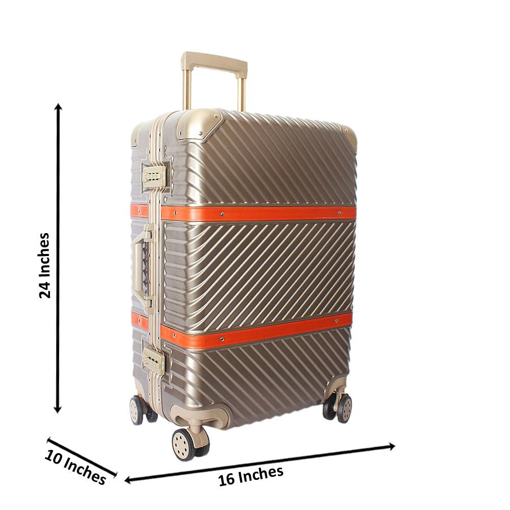 Gold 24 Inch Hardshell 4 Wheels Spinners Medium Suitcase