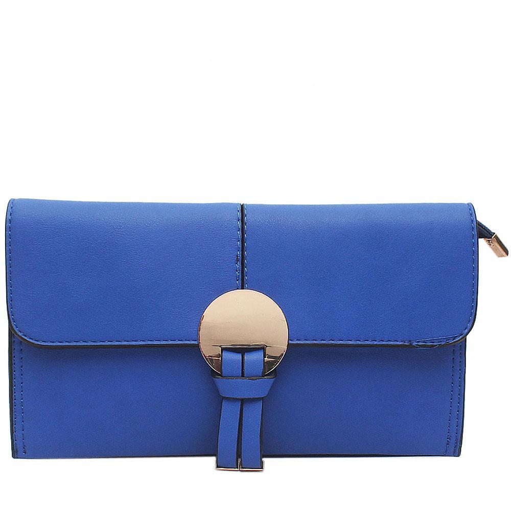 Blue Leather Flat Clutch