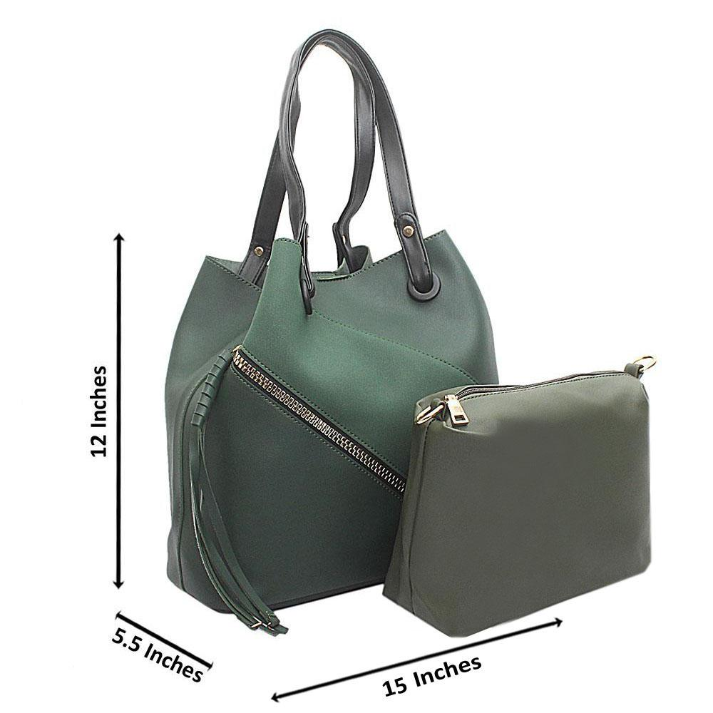 Green Leather Zip Styled Handbag Wt purse