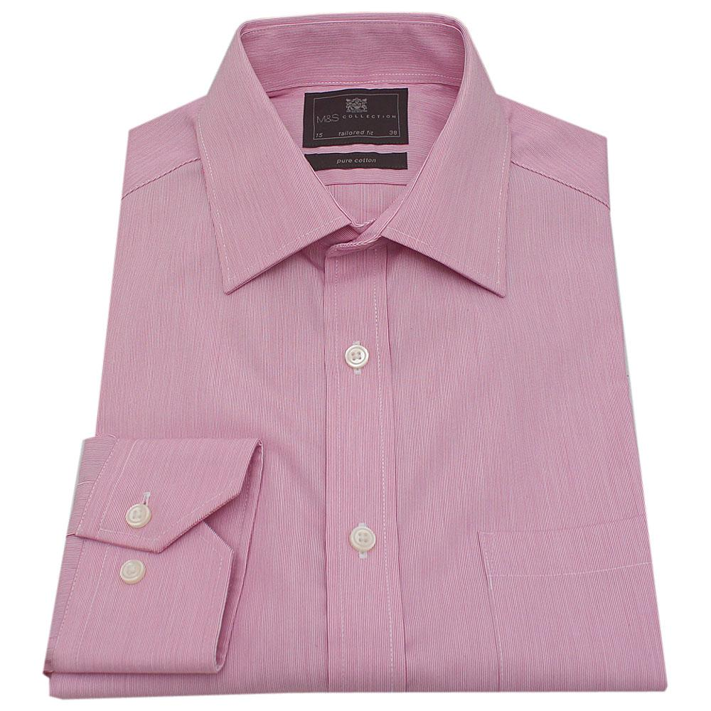 M & S Pink White Stripe Cotton L/Sleeve Regular Fit Men Shirt