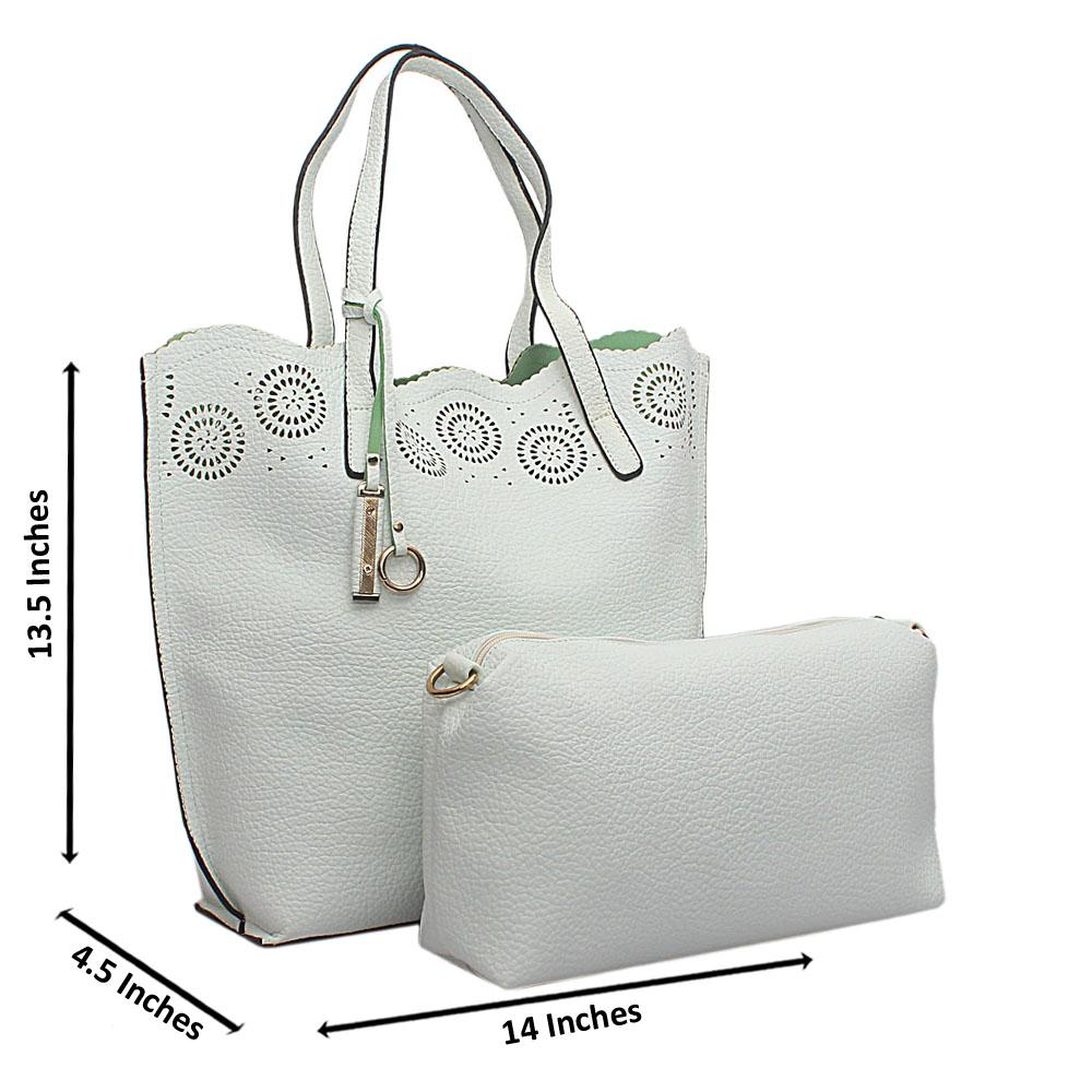 white-Leather-pattern-Punctured-Shoulder-Bag-With-Purse