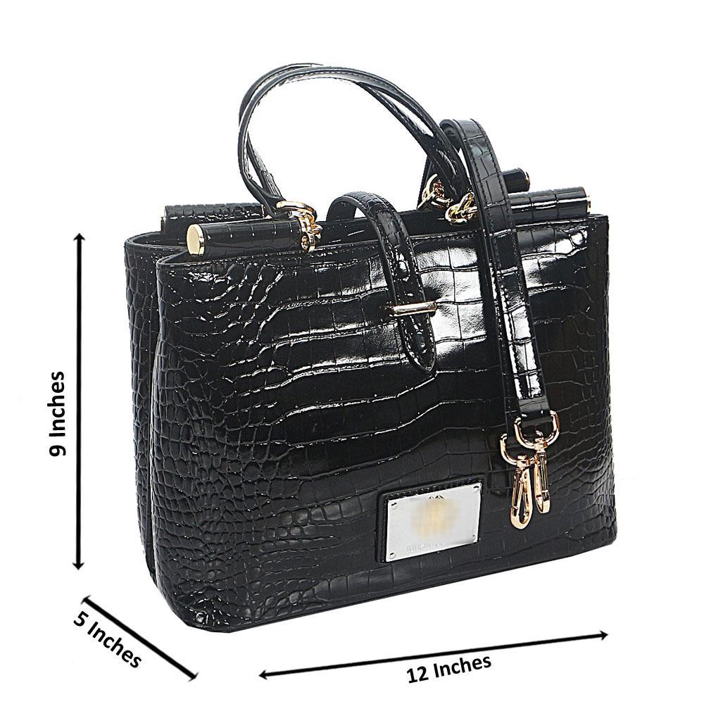 Black Croc Saffiano Leather Tote Handbag